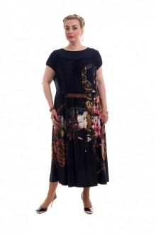 """Платье """"Олси"""" 1605037 ОЛСИ (Синий темный/цветы)"""