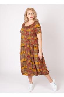 """Платье """"Агата2"""" Sparada (Принт / Оранжево-серый)"""